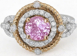 Round Pink Sapphire Ring with Diamond Halo in white and rose gold