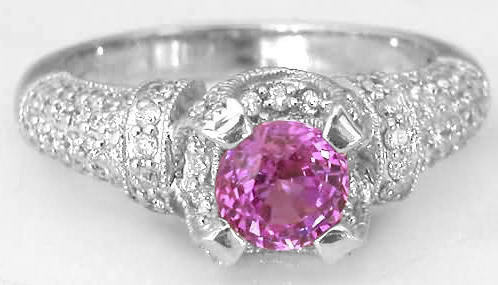 Round Cut Natural Pink Sapphire Real Pave Diamond Ring in 18k white gold setting