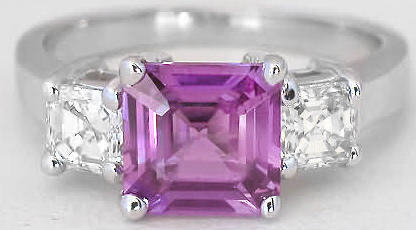 Purple Magenta Sapphire Ring with Asscher Cut Diamonds