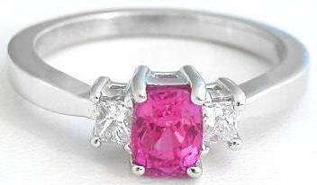 Cushion Cut Pink Sapphire Three Stone Ring with Diamonds in 14k white gold