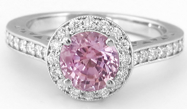 Natural Round Pink Sapphire Ring with Diamond Halo in 14k white gold