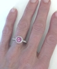 Round Pink Sapphire Ring with Diamond Halo, Milgrain, and Lattice work on hand