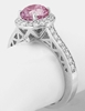Pink Sapphire Ring - Natural Round Pink Sapphire and Diamond Halo Ring in 14k white gold