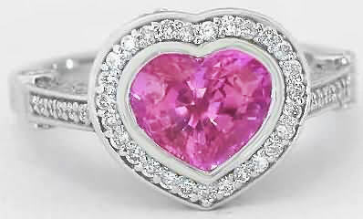 Collector Quality Heart Cut Bubble Gum Pink Sapphire and Diamond Engagement Ring in 18k white gold for sale