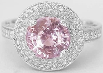 Natural Baby Pink Round Sapphire Ring with Real Double Diamond Halo in 14k white gold