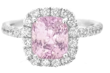 Cushion Cut Baby Pink Sapphire Ring