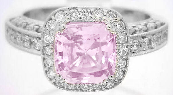 2 77 Ctw Cushion Cut Pink Shire And Diamond Ring In 14k White Gold Spr