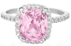 Light Pink Cushion Cut Sapphire Ring