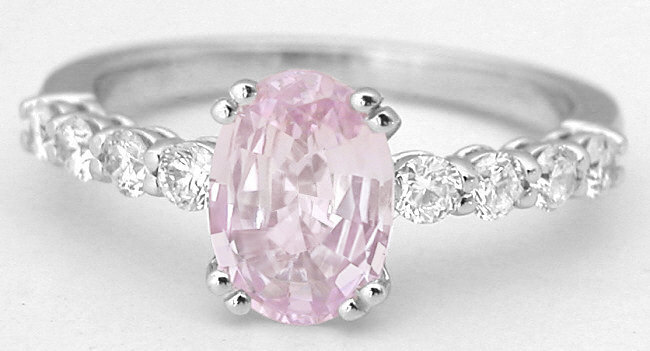 1 72 Ctw Light Pink Shire And Diamond Ring In 14k White Gold Ssr 5911
