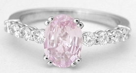 1.72 ctw Light Pink Sapphire and Diamond Ring in 14k white gold Light Pink Sapphire Rings, Baby Pink Sapphire Rings, Pale Pastel Pink Sapphire Rings, Pink Diamond Rings, Large Pink Sapphire Diamond Rings, Light Pink Rings