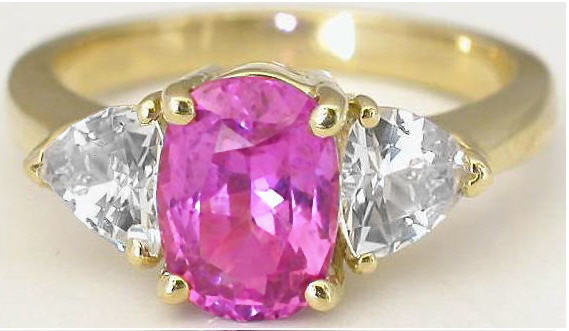 Natural Untreated Real Pink and White Pink Sapphire Ring