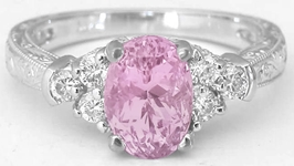 Light Pink Sapphire Ring - Diamond Band in 14k white gold