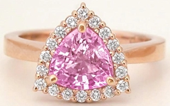 Trillion Natural Pink Sapphire Ring with real Diamond Halo in solid 14k rose gold setting for sale