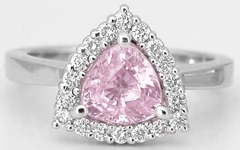 Light Trillion Pink Sapphire Ring with Diamond Halo in 14k white gold