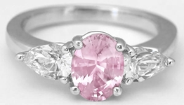 Oval Real Light Pink Sapphire Three Stone Ring with Natural White Sapphire side gemstones in sold 14k white gold for sale
