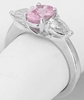 2 carat Oval Pink Sapphire and Trillion White Sapphire Ring in 14k white gold