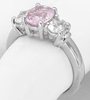 Past Present Future 2.12 carat Unheated Pink Sapphire and White Sapphire Ring in 14k gold