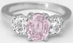 Three Stone 2.12 ctw Unheated Pink Sapphire and White Sapphire Ring in 14k gold