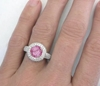 Hand View of Round Pink Sapphire Ring in 14k