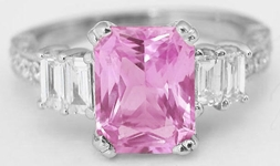 Radiant Pink Sapphire Ring 18k