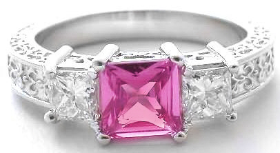 Ornate 3 Stone Pink Sapphire Ring Princess Diamond