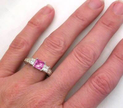 3 stone pink sapphire engagement rings