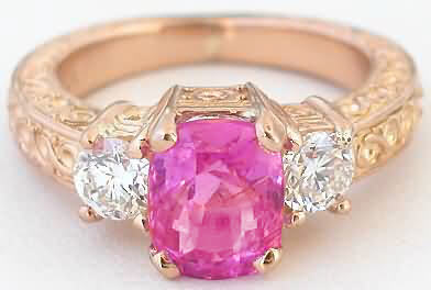 Bright Pink Sapphire Ring Rose Gold