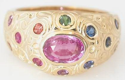 Pink Rainbow Sapphire Rings