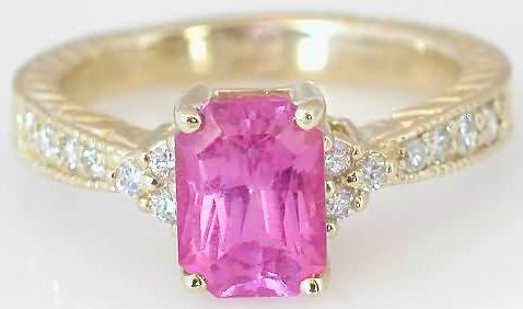 Pink Sapphire Ring Yellow Gold