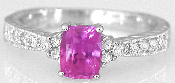 Natural Bright Pink Sapphire Engagement Ring with Cushion Cut Real Sapphire in 14k white gold band for sale