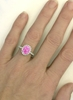 Natural Pink Sapphire Engagement Ring - Oval Cut Pink Sapphire and Real Diamond Halo Ring in 14k white gold