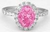 Natural Pink Sapphire Ring - Oval Cut Sapphire and Real Diamond Halo Ring in 14k white gold