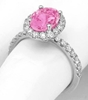 Oval Cut Natural Pink Sapphire and Real Diamond Halo Engagement Ring in 14k white gold