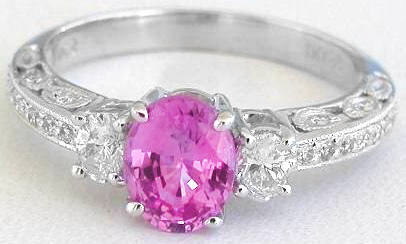 1.52 ctw Pink Sapphire and Diamond Ring in 14k white gold