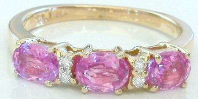 Triple Oval Pink Sapphire Ring