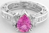 Vintage Style Natural Pear Cut Pink Sapphire Ring with Real Baguette Diamonds in solid 18k white gold