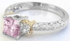 Light Pink Sapphire Diamond Ring in platinum