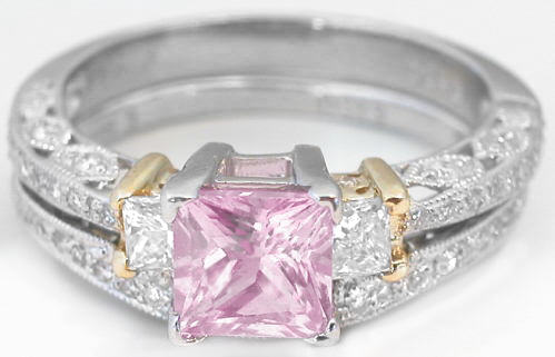 Light Pink Sapphire Engagement Set