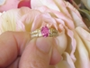Oval Real Pink Sapphire and Diamond Engagement Ring in solid 14k yellow gold