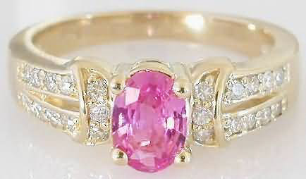 Natural Oval Pink Sapphire Engagement Ring in solid 14k yellow gold for sale
