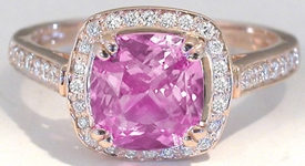 Cushion Cut Pink Sapphire Ring Rose Gold