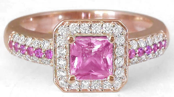 1 54 ctw Princess Cut Pink Sapphire and Diamond Ring in 14k rose
