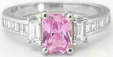 Radiant Pink Sapphire Baguette Diamond Ring