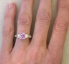 Fine Pink Sapphire Ring on the Hand
