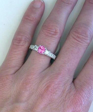 126 ctw Princess Cut Pink Sapphire and Diamond Ring in 14k white
