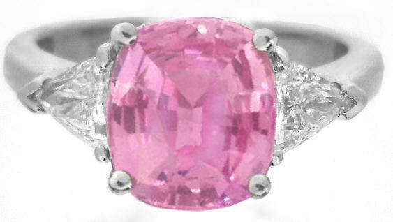 Cushion Large Natural Pink Sapphire and Real Trillion Diamond Engagement Ring in solid platinum for sale