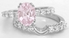 Oval Light Pink Shire And Diamond Engagement Ring In 14k White Gold