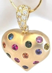 Sapphire Heart Pendant in Gold