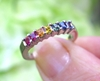 LGBT Natural Rainbow Sapphire Ring in solid 14k white gold with princess cut sapphires for sale