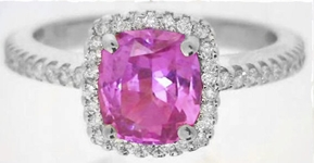 Cushion Cut Hot Pink Natural Sapphire Engagement Ring with Real Diamond Halo in 14k white gold